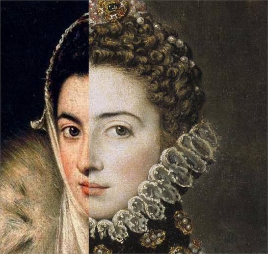 Foto montaje con el retrato de Dama del Armiño y Catalina Micaela