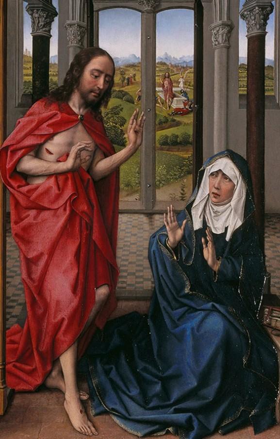 Roger van der Weyden. Cristo resucitado se aparece a su madre. Detalle del Tríptico Miraflores. Gemäldegalerie. Berlín