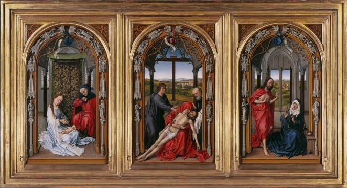 GemÑlde / ôl auf Eichenholz (um 1435) von Rogier van der Weyden [1399/1400 - 18.6.1464] Bildma· jede Tafel 71 x 43 cm Zustand nach der Restaurierung - linke Tafel: Die Heilige Familie, Mittelbild: Die Beweinung Christi, rechte Tafel: Der Auferstandene erscheint Maria Inventar-Nr.: 534A Person: Rogier van der Weyden [1399/1400 - 18.6.1464], NiederlÑndischer Maler Motiv 1 von 4 Systematik: Personen / KÅnstler / Weyden / Werke