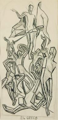 """Thomas Hart Benton. """"Estudio de la Resurrección del Greco"""" ca. 1925"""