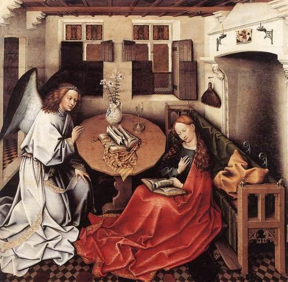 Robert Campin. Anunciación. ca.1420-1430, Musées Royaux des Beaux-Arts, Bruselas