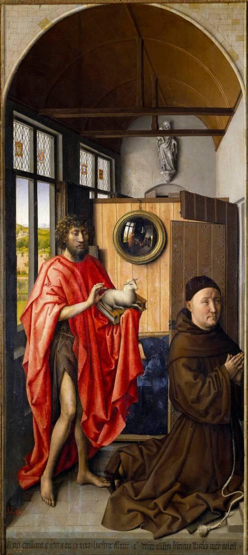 Robert Campin. San Juan Bautista y el maestro franciscano Enrique de Werl. 1438. Museo del Prado