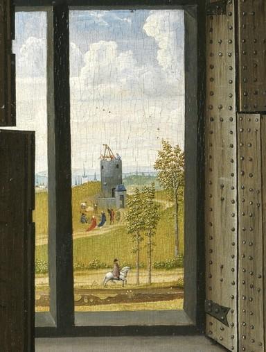 Detalle del paisaje con la torre en la tabla del Prado