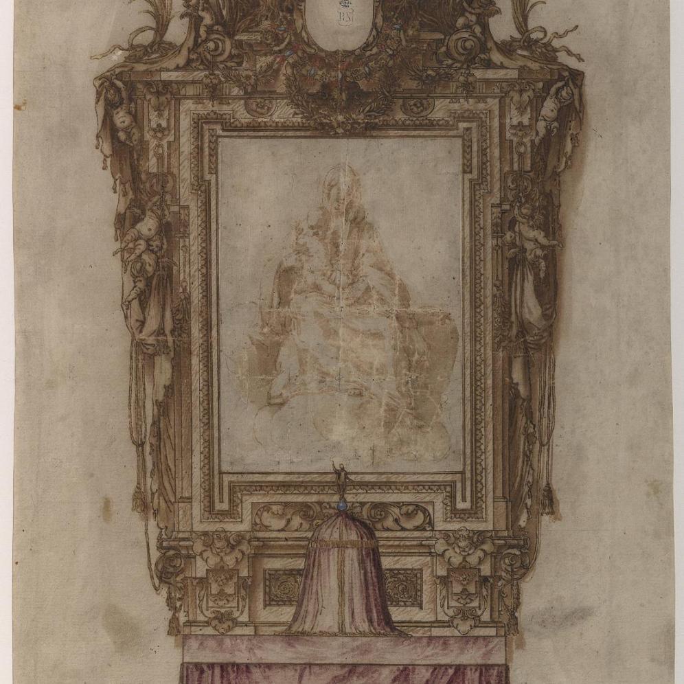 Sebastián Herrera Barnuevo. Diseño de Retablo. BNE