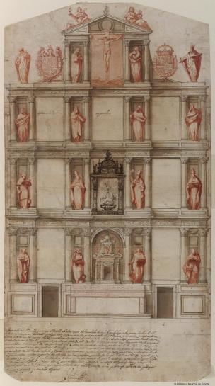 Juan Gómez de Mora. Traza del retablo de Guadalupe. BNE