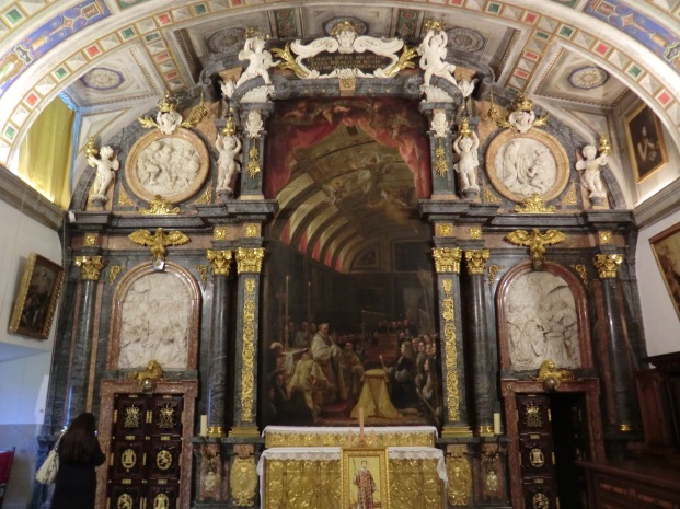Franciso Rizi (traza) José Arroyo (arquitec.) y Claudio Coello (pintura). Retablo de la Sagrada Forma, sacristía de El Escorial