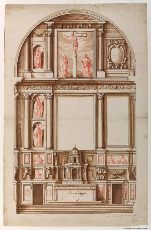 Alonso Carbonel. Traza de retablo. BNE