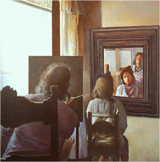 Dali de espaldas pintando a Gala de espaldas eternizada por seis córneas... 1972-73. Fundación Gala-Salvador Dalí