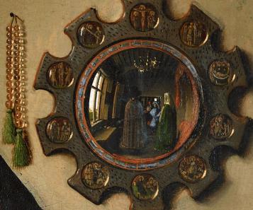 Detalle del espejo en Matrimonio Arnolfini