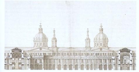 Alzado del patio central del Palacio Real de Juvarra