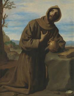 Francisco Zurbarán. San Francisco meditando. 1659. Museo del Prado (legado Arango)