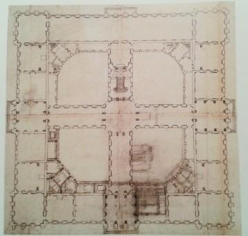 Planta del segundo proyecto para Palacio Real en el Buen Retiro de Robert de Cotte
