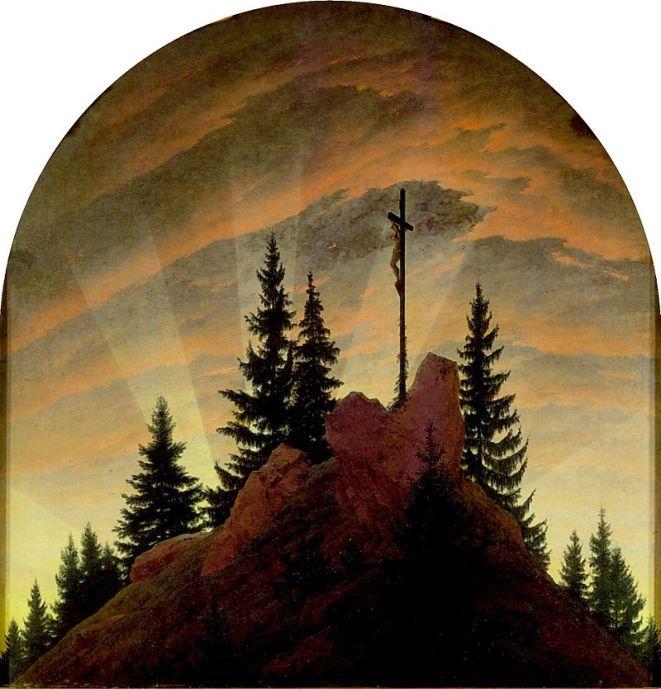 Caspar David Friedrich. La cruz en la montaña (Altar o retablo de Tetschen) 1807–1808. Dresde, Gemäldegalerie