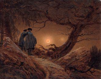 Caspar David Friedrich. Dos hombres contemplando la luna. 1819. Dresde, Gemäldegalerie