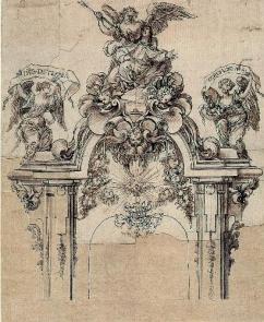 Sebastián de Herrera Barnueno. Traza para la parte superior del relicario de Santa Teresa. RABASF