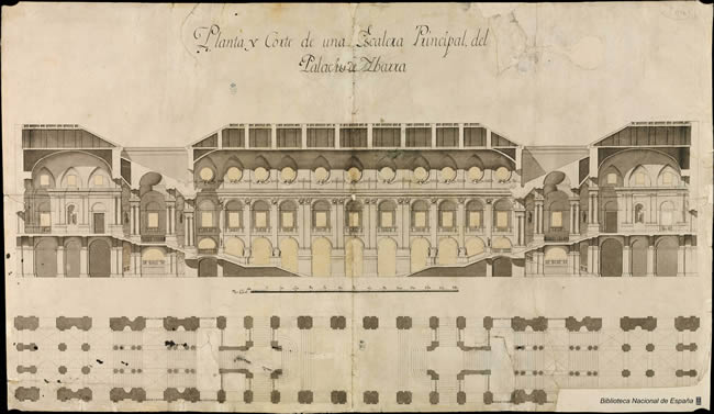 Filippo Juavarra. Proyecto de doble escalera para el Palacio Real de Madrid