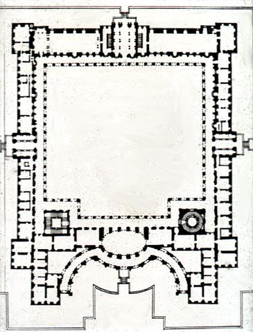 Bernini. Planta del primer proyecto del Louvre