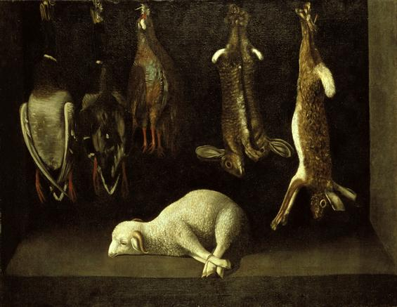 Baltasar Gómez Figueira. Naturaleza muerta con cordero y piezas de caza. ca. 1645-55. Museo de Évora. Portugal