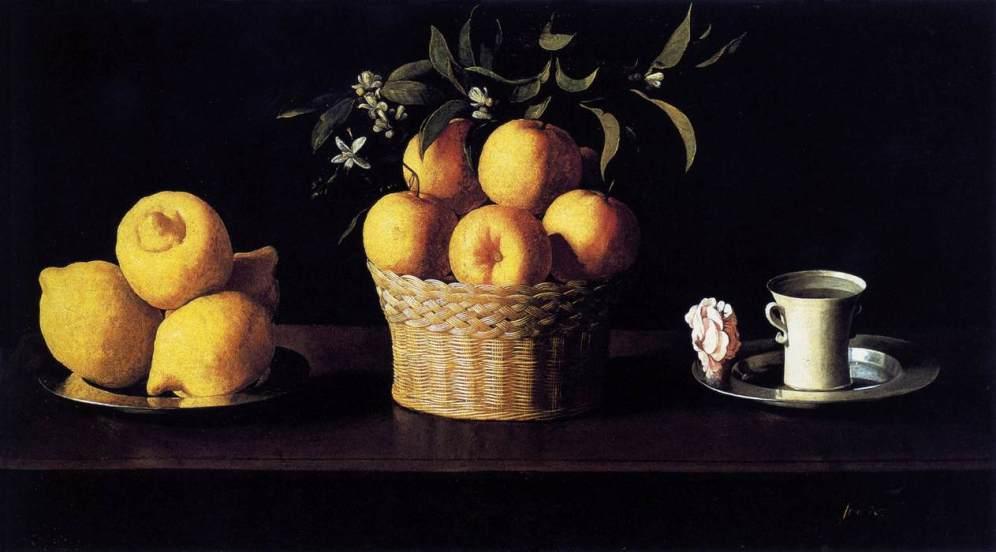 Francisco Zurbarán. Bodegón de limones naranjas y una rosa. 1633. Norton Simon Museum, Pasadena (CA)