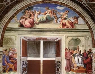 Rafael. Virtudes Teologales y el Derecho Romano y el Derecho Canónico. Stanza della Segnatura. Palacio Vaticano. Roma. Foto: web gallery of art