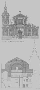 Fachada principal y testero al patio. Dibujo de Antón Capitel