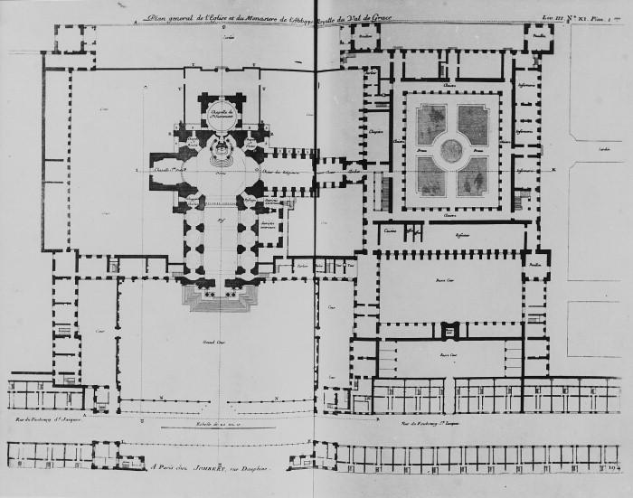 Planta del conjunto del hospital e iglesia de Val de Grace. París