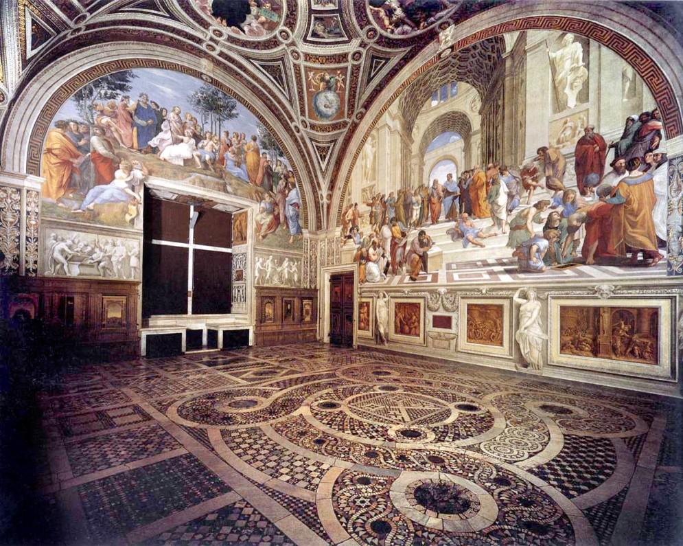 Rafael. Stanza della Segnatura. Palacio Vaticano. Vista general. Foto: wikipedia