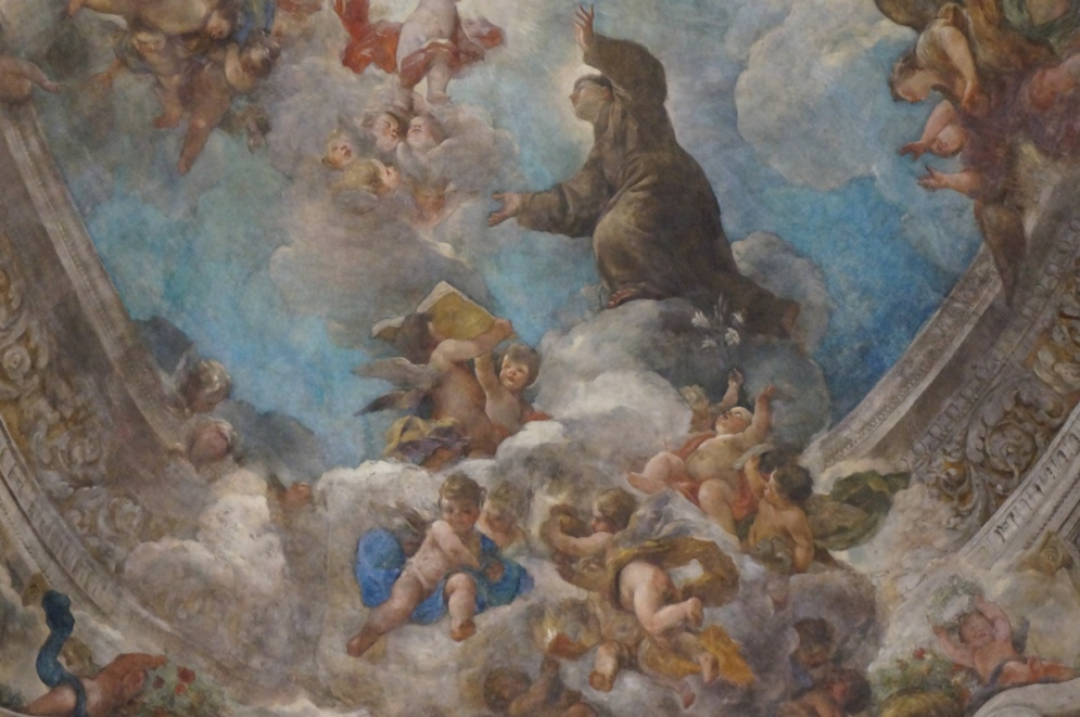 Juan Carreño de Miranda y Franciso Rizi. Detalle de San Antonio, la Virgen y el Niño. Bóveda de San Antonio de los Portugueses. Madrid.