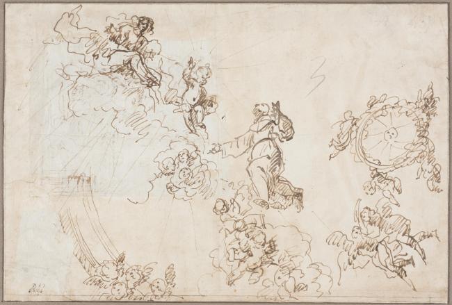 Franciso Rizi. Diseño de las figuras centrales de la bóveda de San Antonio de los Portugueses. Museo del Prado. Madrid