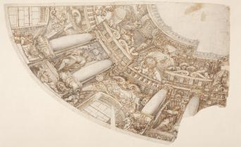 """Francisco Rizi. Diseño de las arquitecturas fingidas """"quadratura"""" de la bóveda de San Antonio. Museo del Prado. Madrid."""