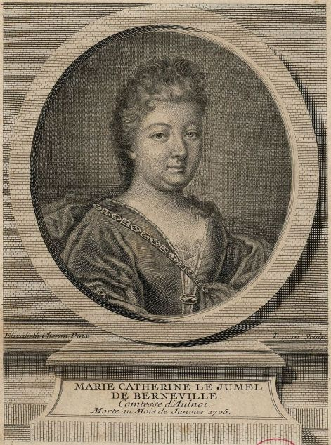 Élisabeth Sophie Chéron (diseño) y Pierre François Basán (grabado). Retrato de la Condesa d'Aulnoy. s. XVIII