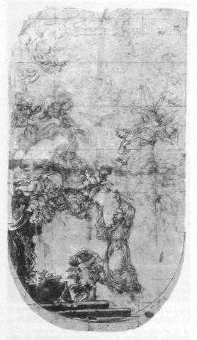 Angelo Michele Colonna. San Antonio en gloria. Biblioteca del Palacio Real de Madrid.