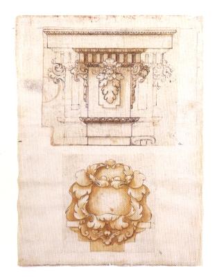 Sebastián de Herrera Barnuevo, Entablamento jónico. Alonso Cano. Hojas decorativas. BNE