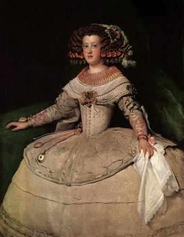 Diego Velázquez. La infanta María Teresa de Austria. Hacia 1652. Museo de la Historia del Arte. Viena. Se puede apreciar la alforza en la falda blanca a medira altura.
