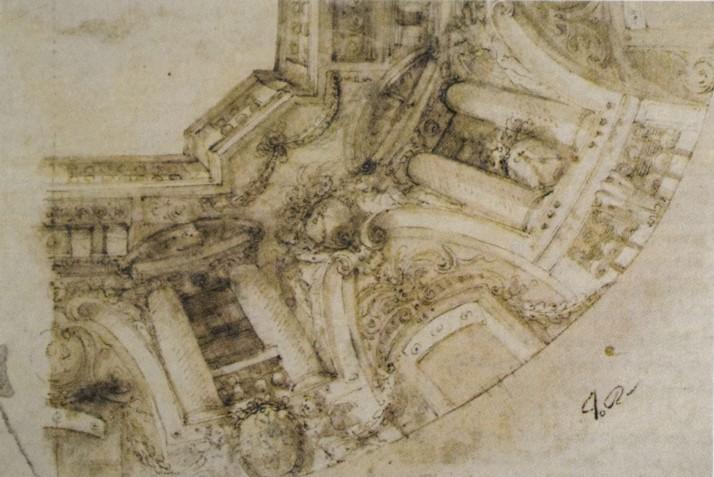 Angelo Michele Colonna. Estudio para arquitectura fingida en San Antonio de los Portugueses. Real Biblioteca. Madrid