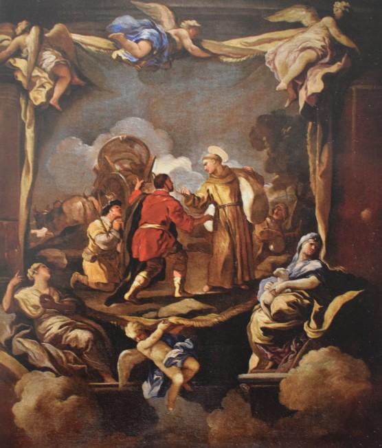 Luca Giordano. Boceto para el milagro del Carro, en el muro de San Antonio de los Portugueses. Coleción Particular. foto: Abalarte
