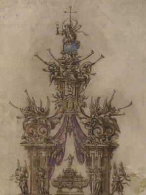 Detalle de la zona superior con el orbe y la Fe, el pabellón de tela y la urna de plata de San Isidro