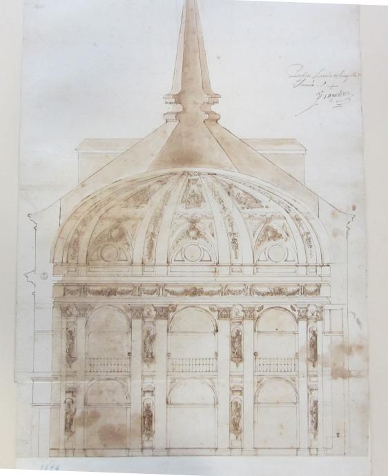 Pedro Sánchez. Sección del proyecto de capilla de San Antonio de los Portugueses. Galería degli Uffizi. Florencia
