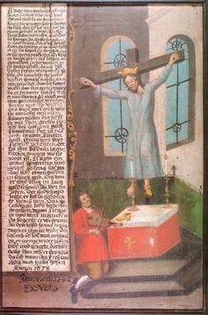 Santa Wilgefortis en una tabla de 1678 del Museo Municipal de Schwäbische Gmünd (Alemania). Foto: wikipedia.