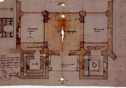 Gómez de Mora. Traza de la zona de los pies de la iglesia de Santa María Magdalena. Getafe. Archivo Parroquial. foto: wikipedia