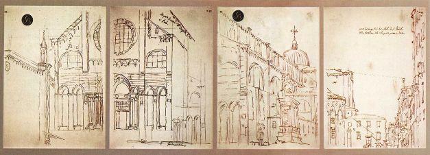 Canaletto. Bocettos para la iglesia de San Gionvanni e Paolo de Venecia. Obtenidos mediante cámara oscura. foto: wikipedia