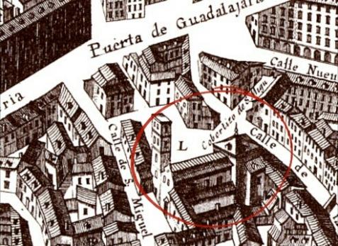 Iglesia de San Miguel de los Octoes en el plano de Texeira. 1656.