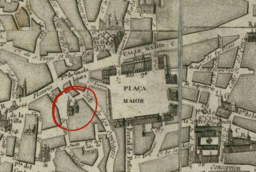 San Miguel de los Octoes (círculo rojo) en las cercanías de la Plaza Mayor en un plano s.XVIII
