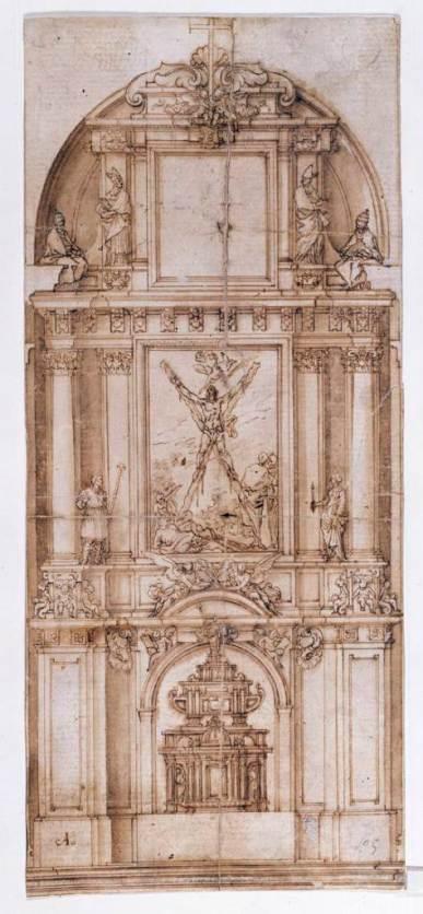 Alonso Cano (?). Traza para retablo de San Andrés en Madrid. Museo del Prado.