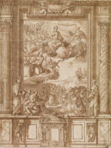 Alonso Cano. Traza para retablo con San Agustín (?) y Santa Bárbara. British Museum