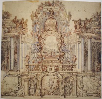 Francisco Rizi. Monumento eucarístico de Semana Santa de la catedral de Toledo. Gabinete de dibujos y estampas de la Galería Uffizi. Florencia