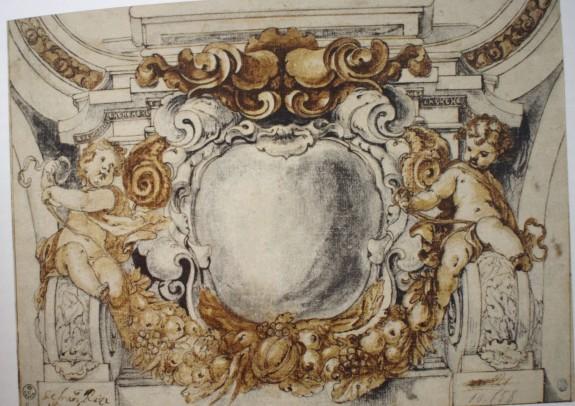 Francisco Rizi. Diseño decorativo de una pechina. Gabinete de dibujos y estampas de la Galería Uffizi. Florencia