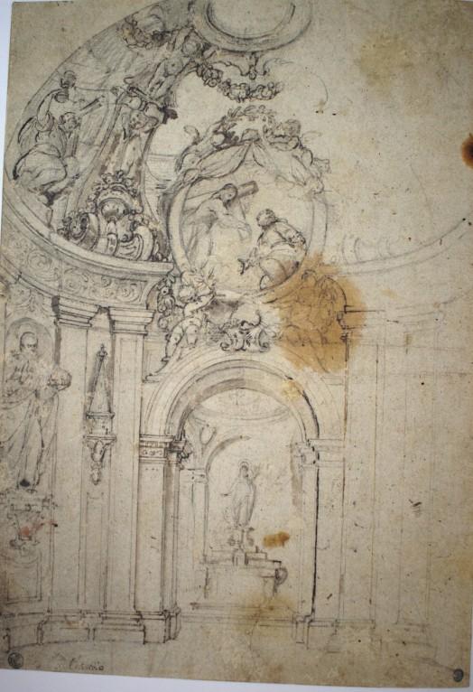 Claudio Coello. Traza de la decoración de la capilla de San Ignacio en el Colegio Imperial de Madrid. Gabinete de dibujos y estampas de la Galería Uffizi. Florencia.
