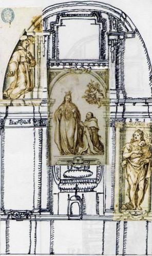 Reconstrucción del aspecto original del retablo de la Virgen de la Expectación en su capilla del convento de la Trinidad de Madrid (autor: Eduardo Lamas Delgado)