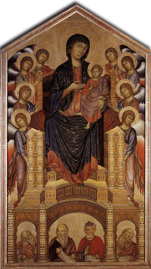 Cimabue. Madonna en majestad. ca. 1290 Gallería degli Uffizi. Florencia.